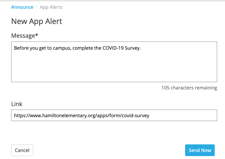 App Alert page in the CMS