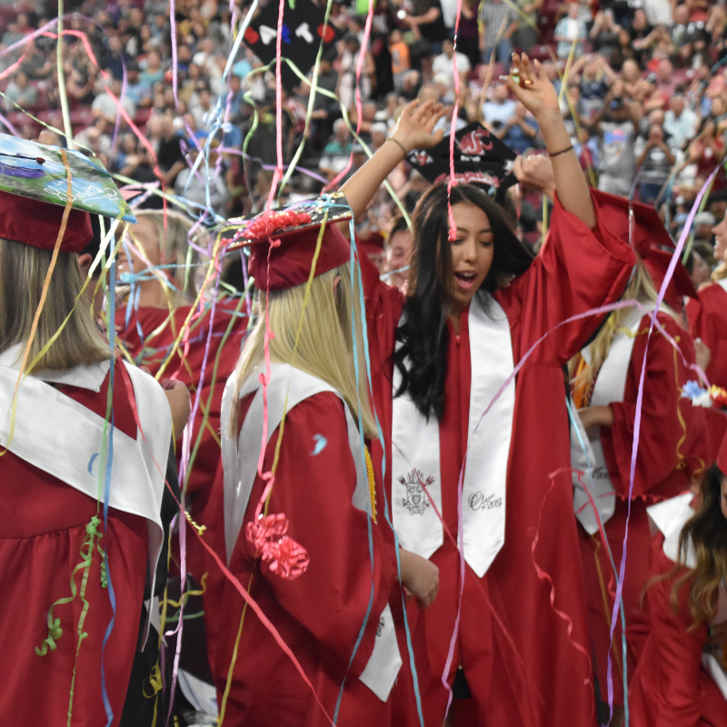 Graduate dancing under the confetti at the completion of the ceremony on June 8th.