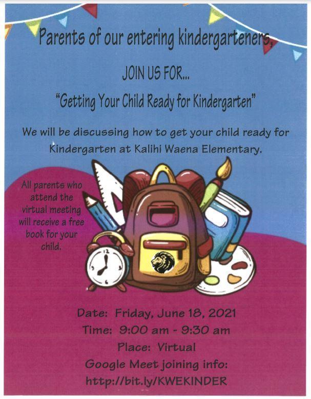 Getting Ready for Kindergarten workshop flyer