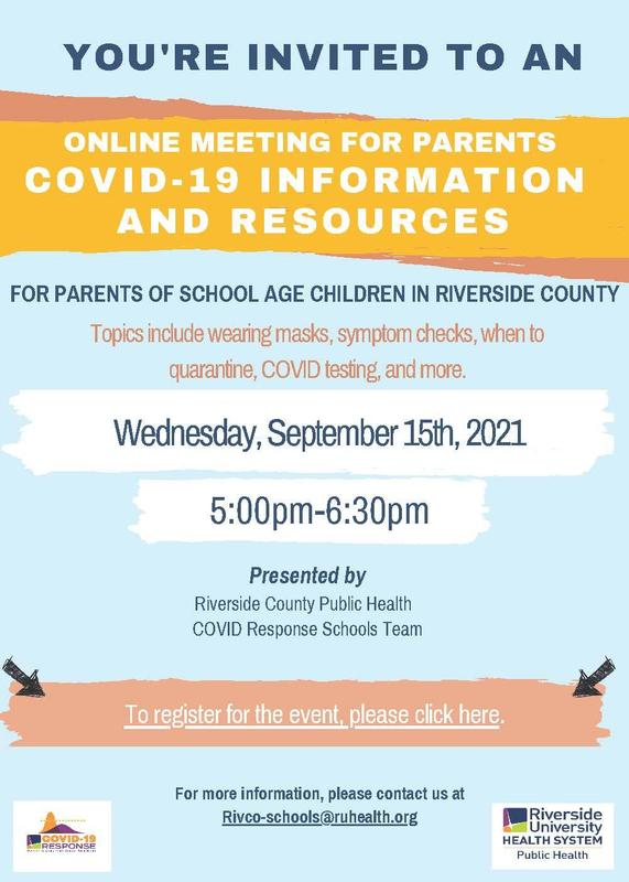 Flyer image for Online Meeting by RivCo Public Health
