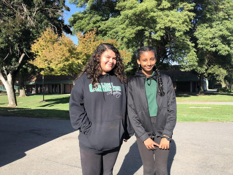 Two female students standing on CCA's campus.