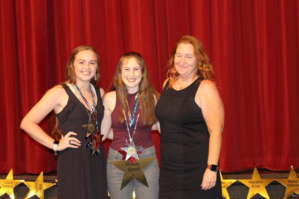 Alt Caesar Kleburg Wildlife Research Scholarship $1,000 L-R Recipients Haley Ellis and Haley Sloan with Roz Simmons, WHS Assistant Principal