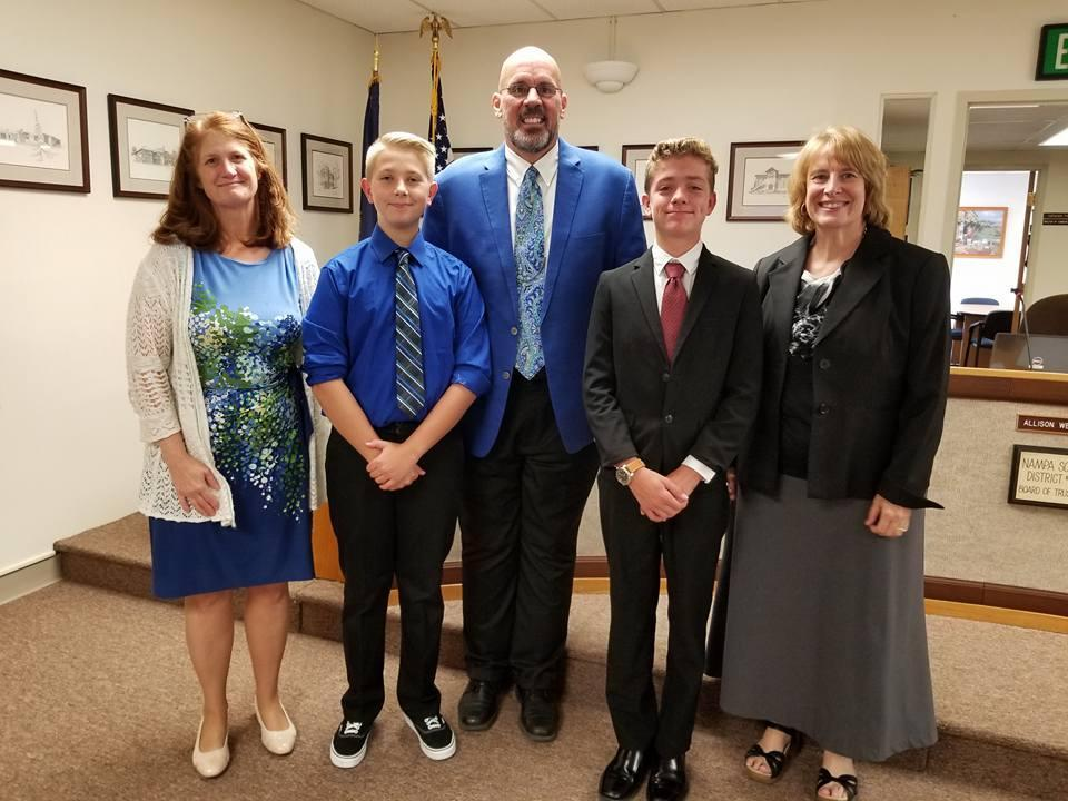 Board Chair Allison Westfall, Payson Christensen, Jeffrey Stoppenhagen, Dante Campagna and Superintendent Paula Kellerer .