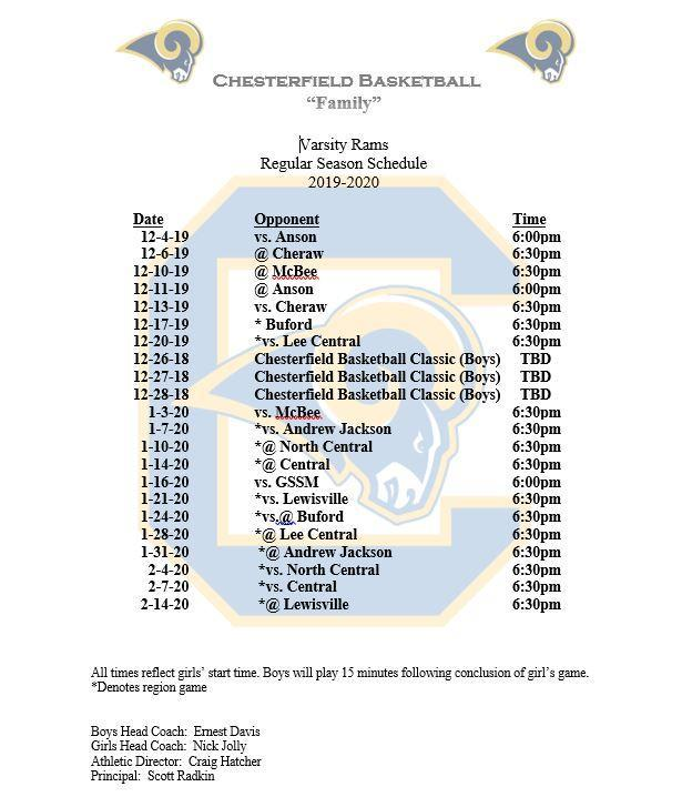 Updated Varsity Basketball Schedule Featured Photo