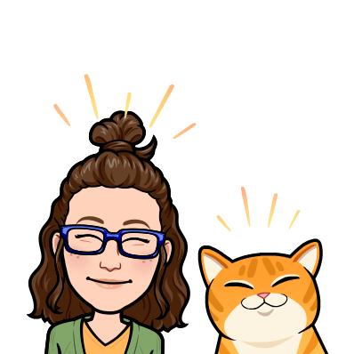 Image of cartoon Miss Alexa with an orange cat