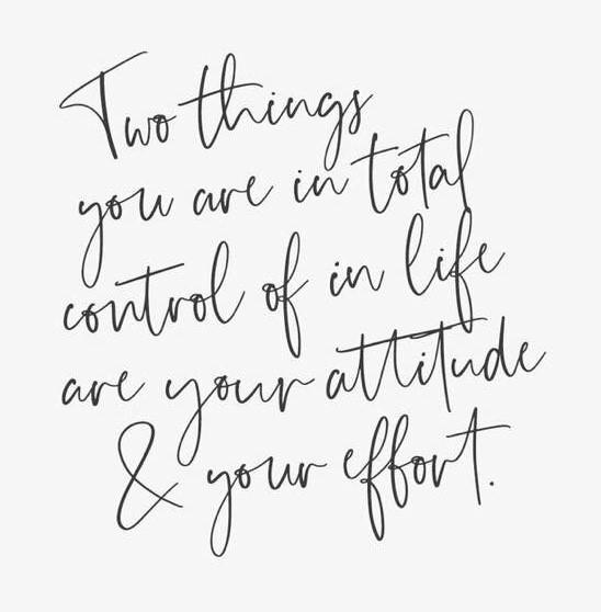 Two things you are able in total control of in life are your attitude & your life.