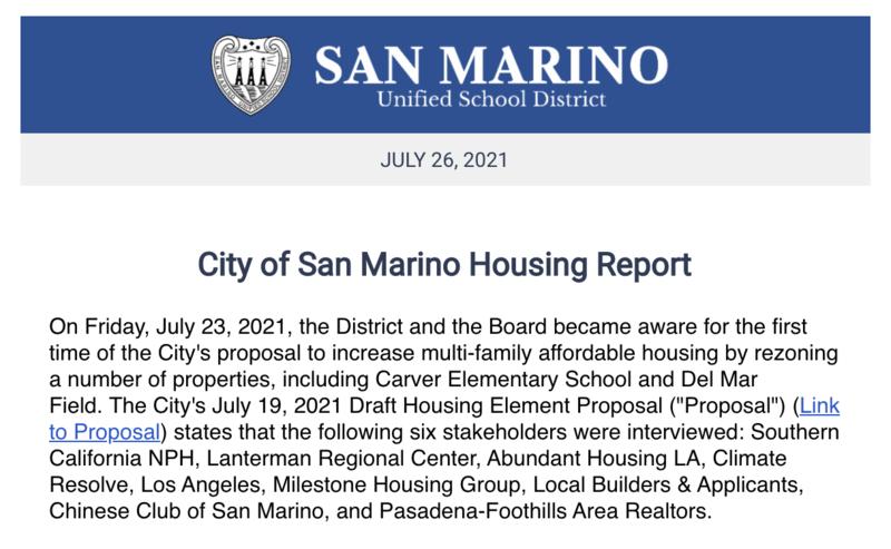 City of San Marino Housing Report