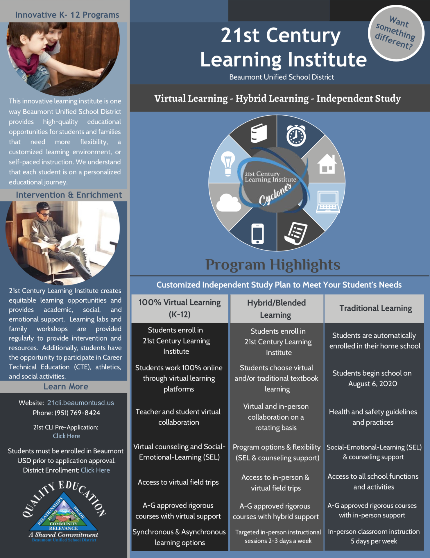 Flyer with Information on Instructional Options