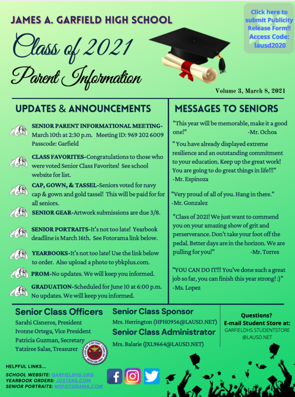 Class of 2021 Senior Parent Information