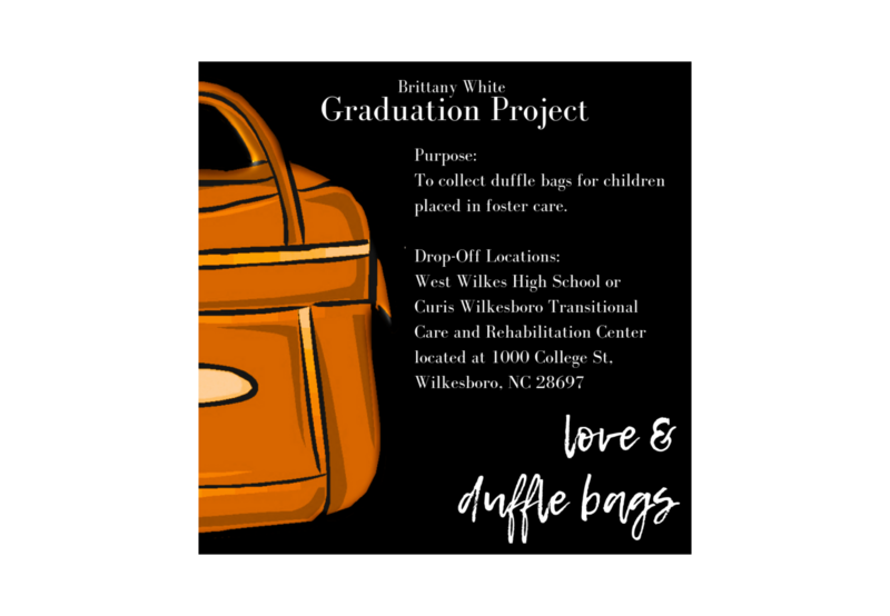 Collecting duffle bags for children placed in foster care. Thumbnail Image