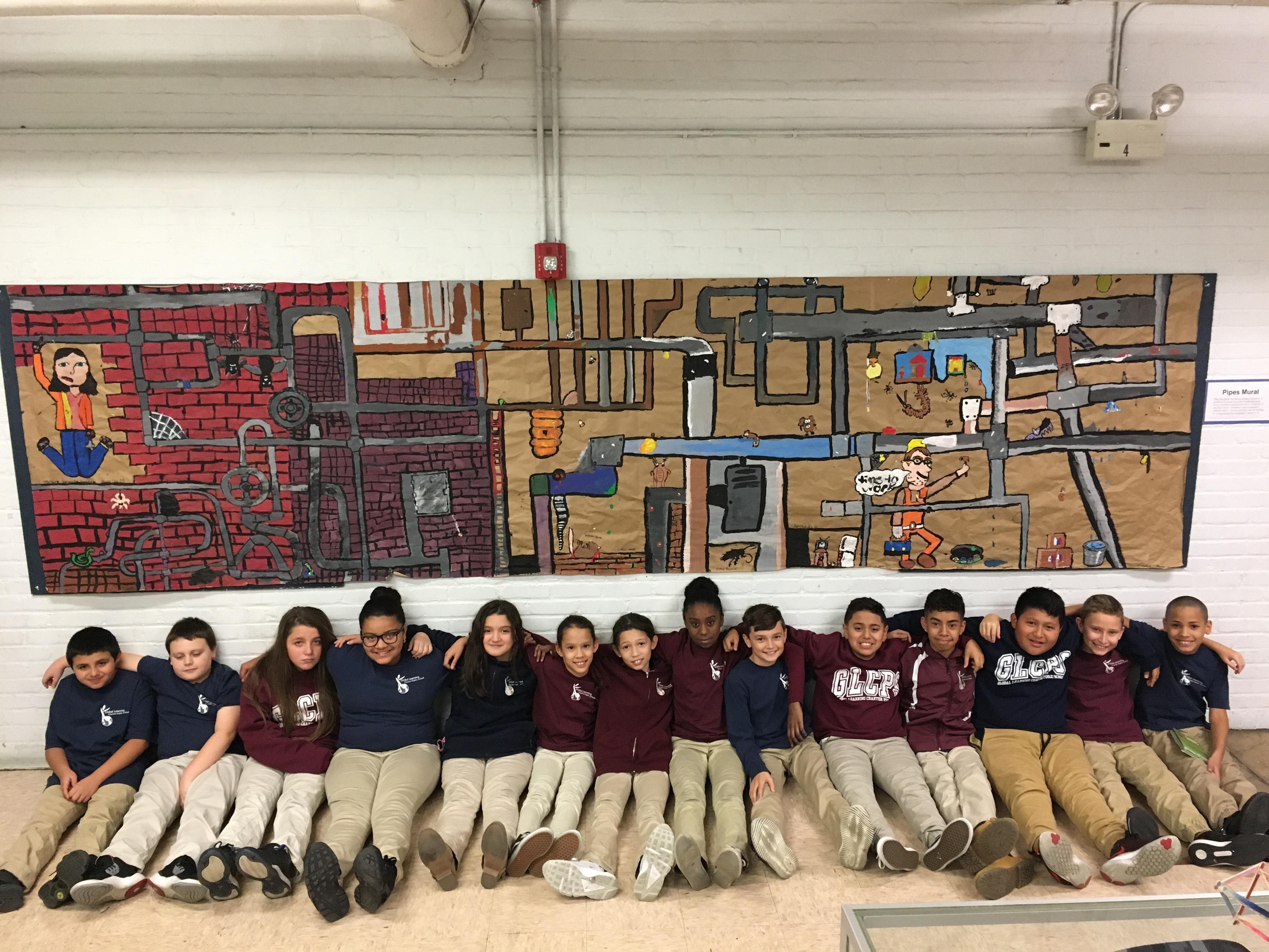 students under mural project