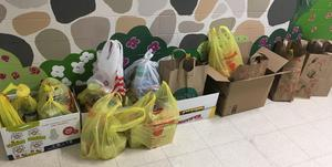 Picture of items collected by Early Act Club of Jefferson School for a Thanksgiving Food Drive.