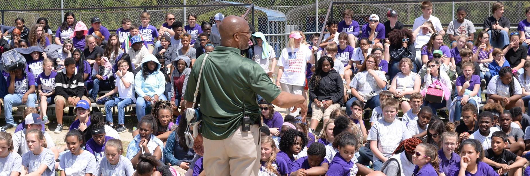 Mr. Ellis addressing mms students