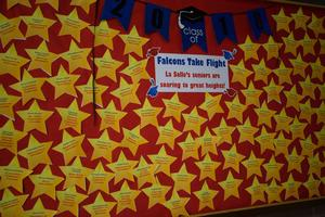 Bulletin board covered in stars