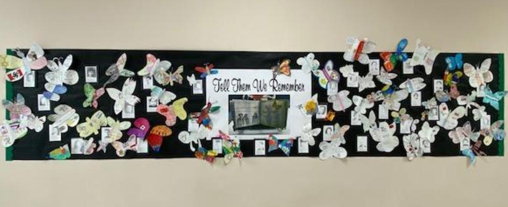 Wall of paper Holocaust butterflies