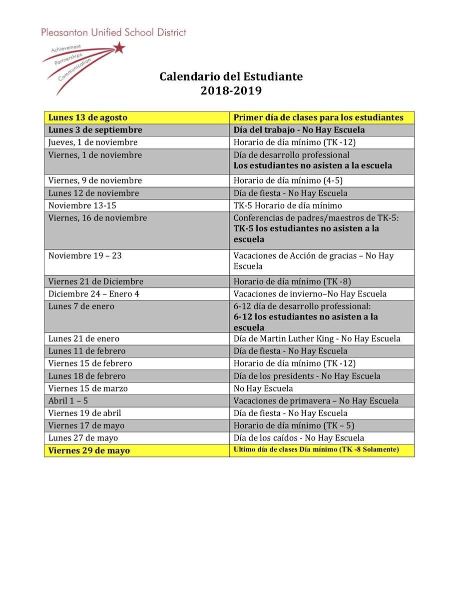 2018 2019 revised instructional calendar board approved 111318