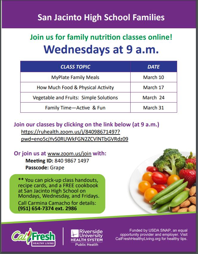 Parent Nutrition Classes Flyer