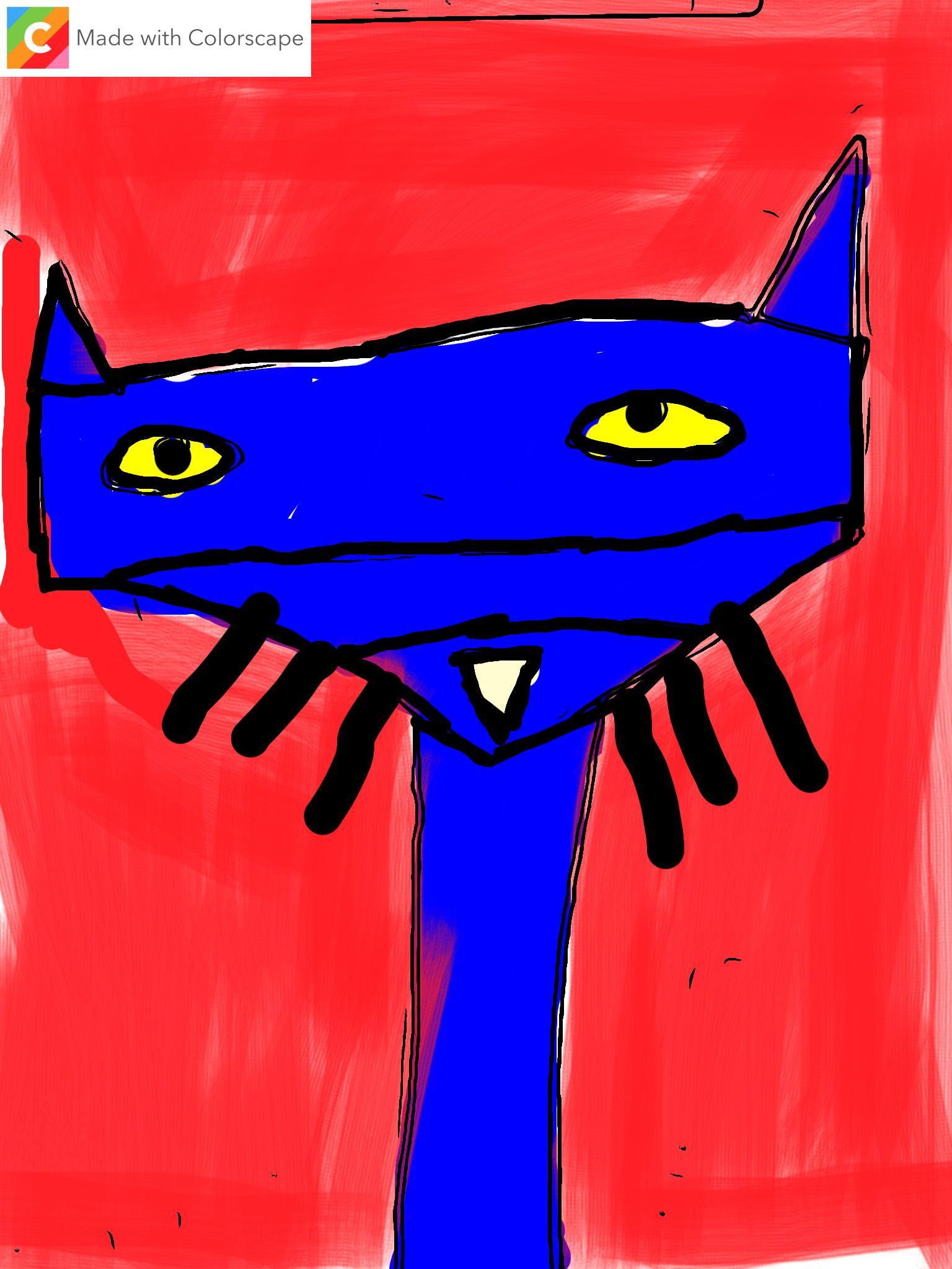 1st grade digital art - Pete the Cat made with shapes