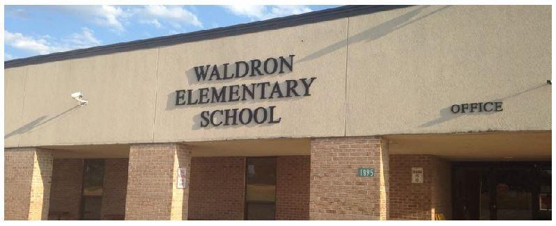 Waldron Elementary School lettering on side of school building