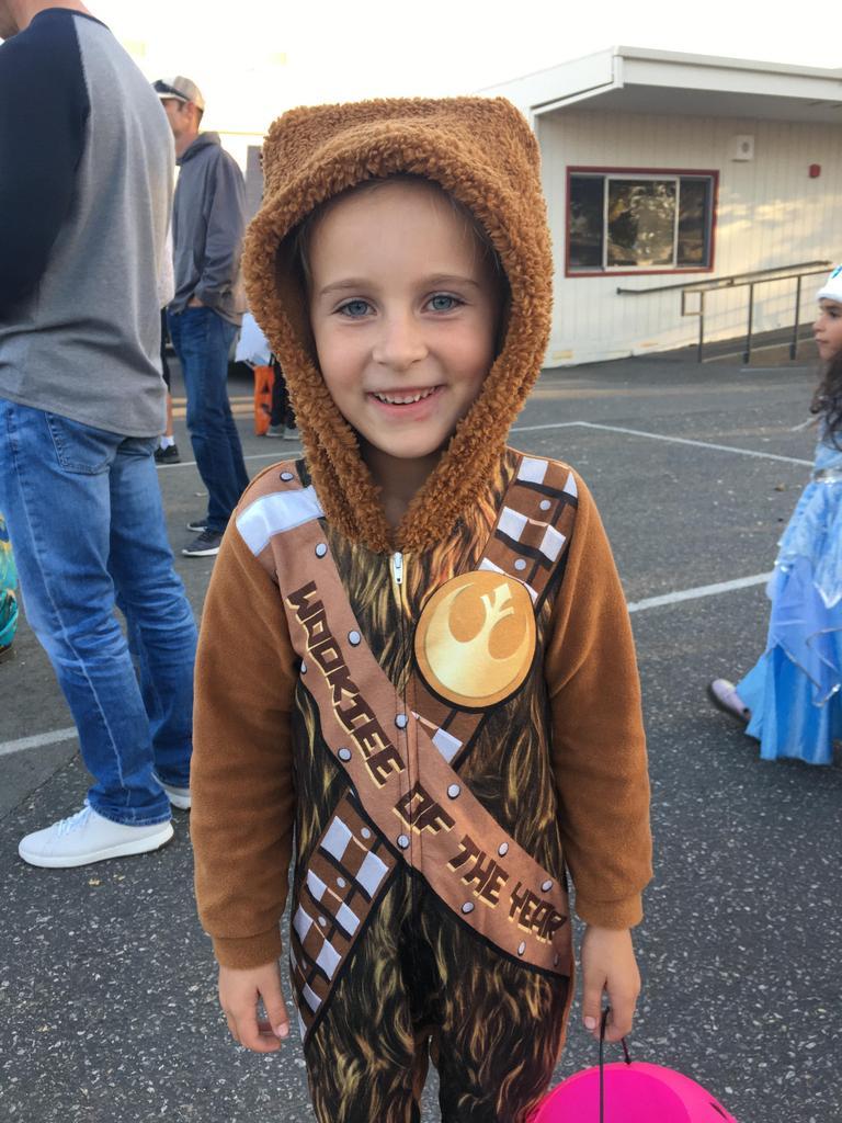 girl dressed as chewbacca