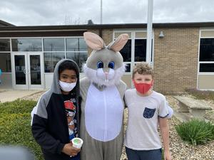 Easter Bunny visited with the Ice Cream Truck