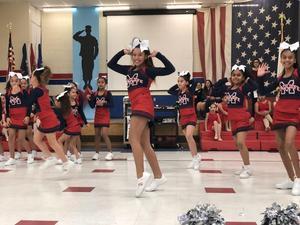 cheerleaders performing.