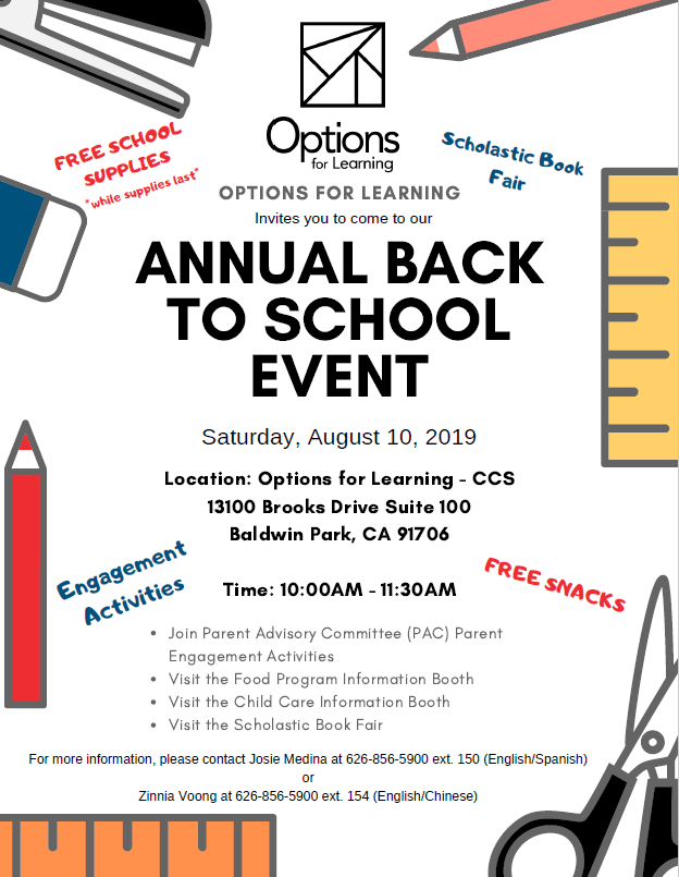 Back to School Event - August 10th from 10-11:30 am
