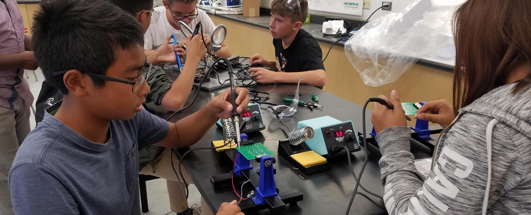 STEM Students Soldering