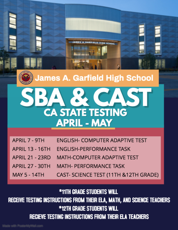 2021 GHS SBA & CAST State Testing Schedule