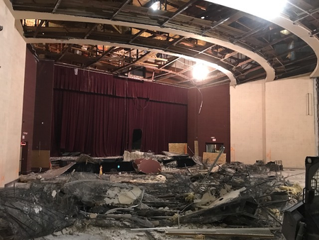 Ceiling is down, seats removed. (January 2018)