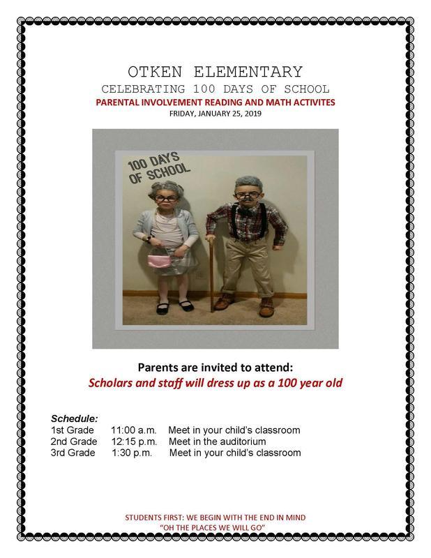 Otken Elementary Celebrating 100 Days of school.