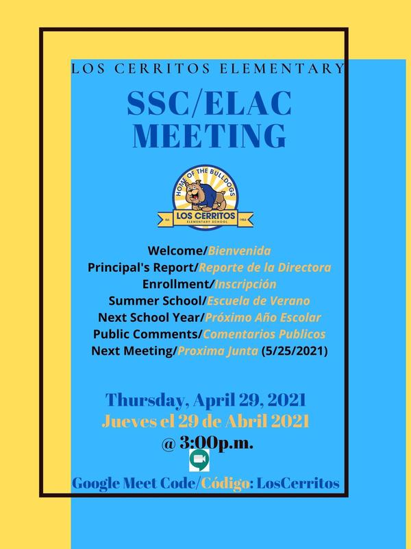 SSC/ELAC Meeting Thursday, April 29th at 3 p.m. Featured Photo