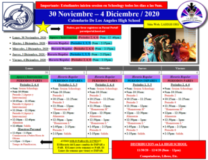 Los Angeles High School - Calendar - 11.30.20 - EVEN - Spanish.PNG