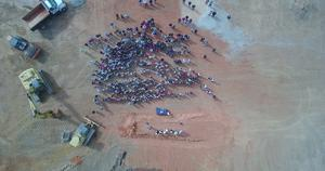 Aerial footage of the groundbreaking