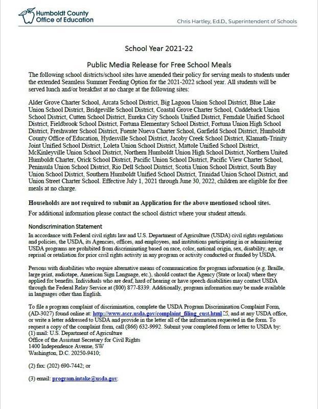Public Release Regarding Free School Lunch