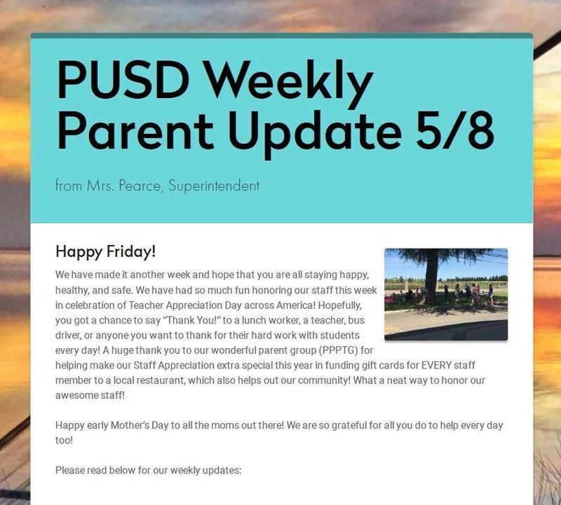PUSD Weekly Parent Update 5/8