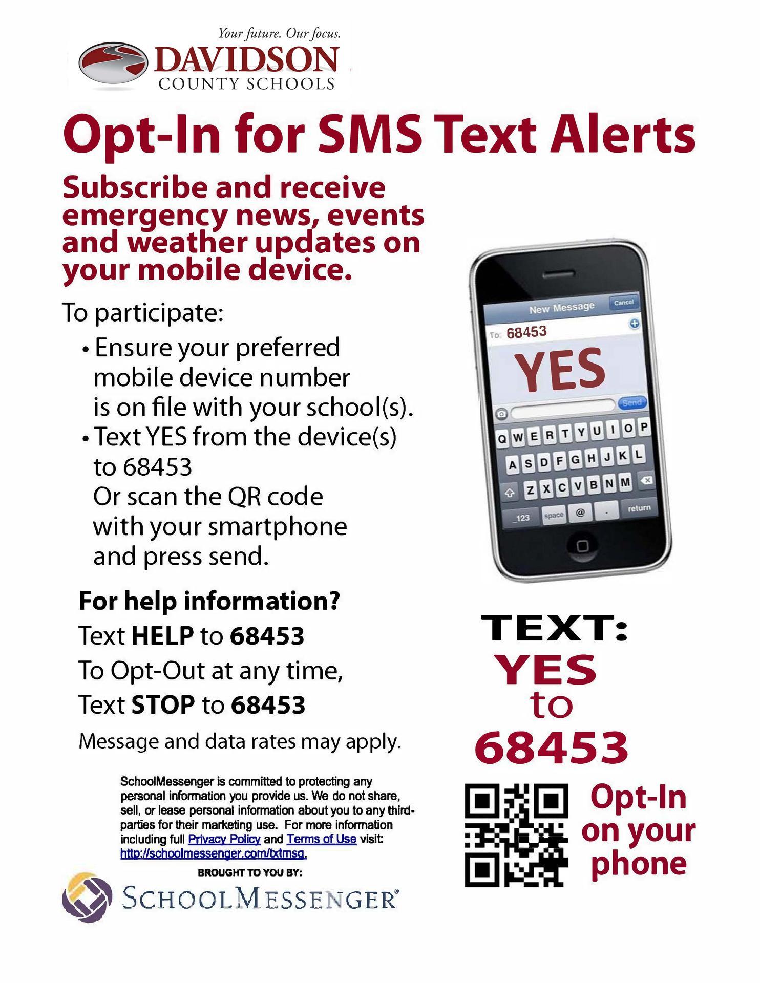 School Messenger Text opt-in