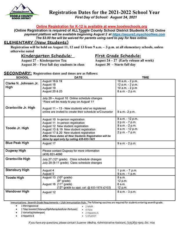 In-person registration times per school
