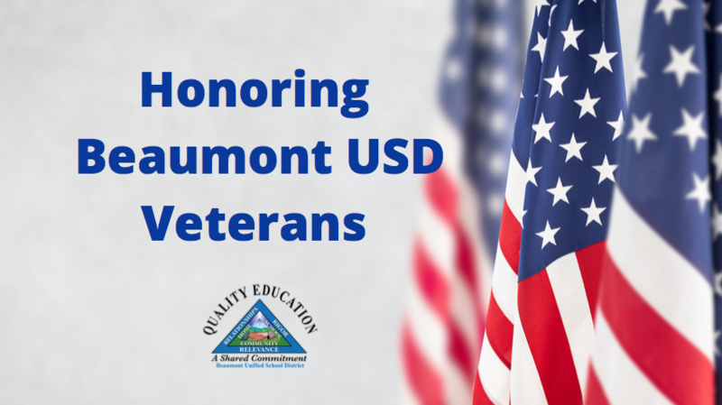 The American Flag with the Beaumont USD Logo honoring Beaumont USD Veterans