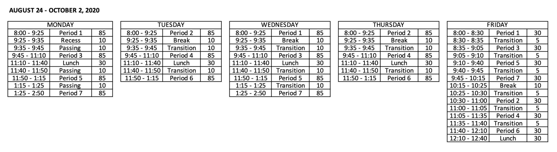 Bell Schedule till 3/12/2021