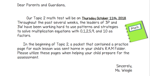 Topic 2 math test notice for 10/11/18