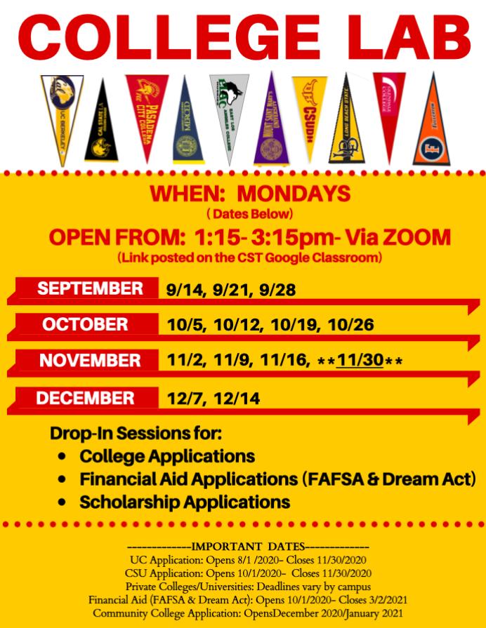 College Lab Mondays- Fall 2020