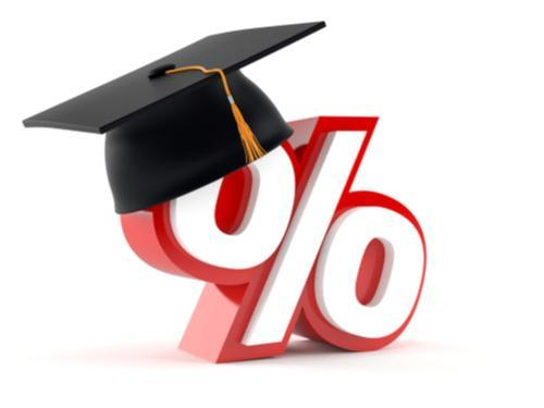 Image of a percentage sign and a graduation cap