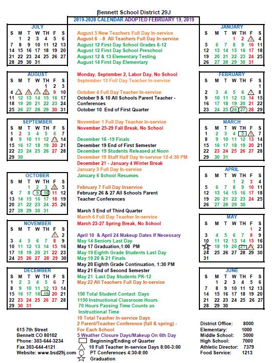 19-20 District Adopted Calendar