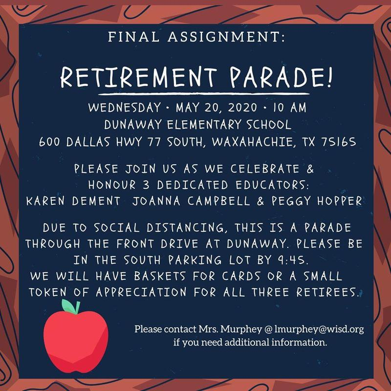 picture of retirement parade information
