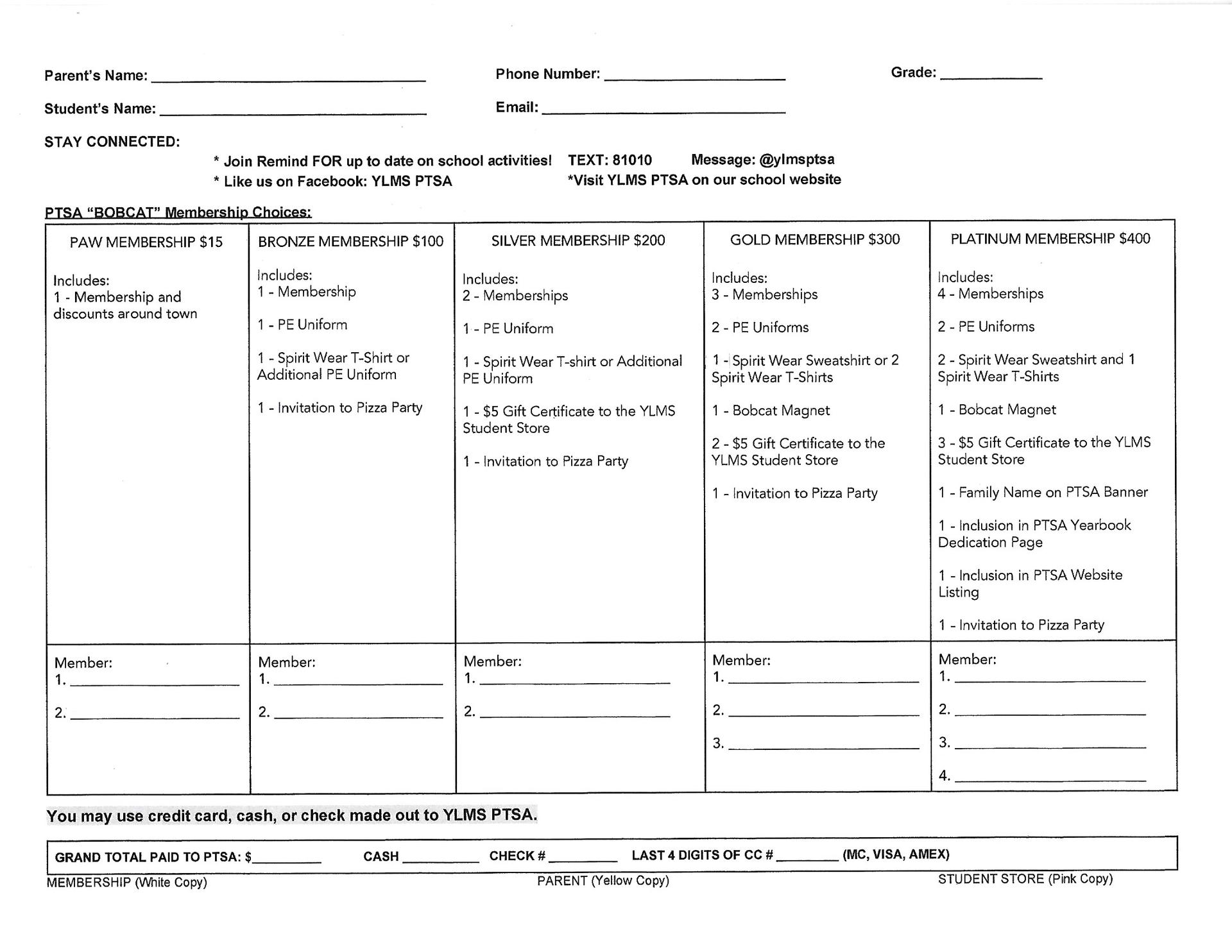 PTSA membership form