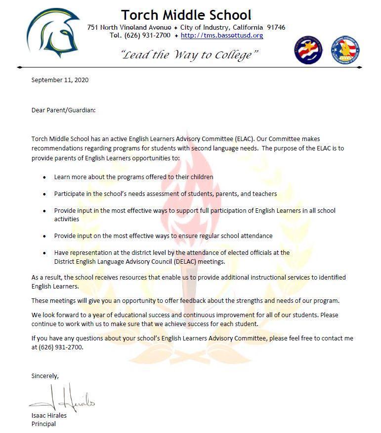 ELAC Parent Letter 2020-2021