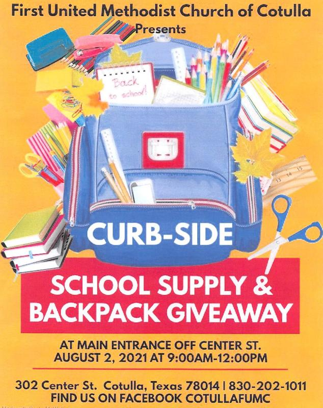 school supply and backpack give away poster