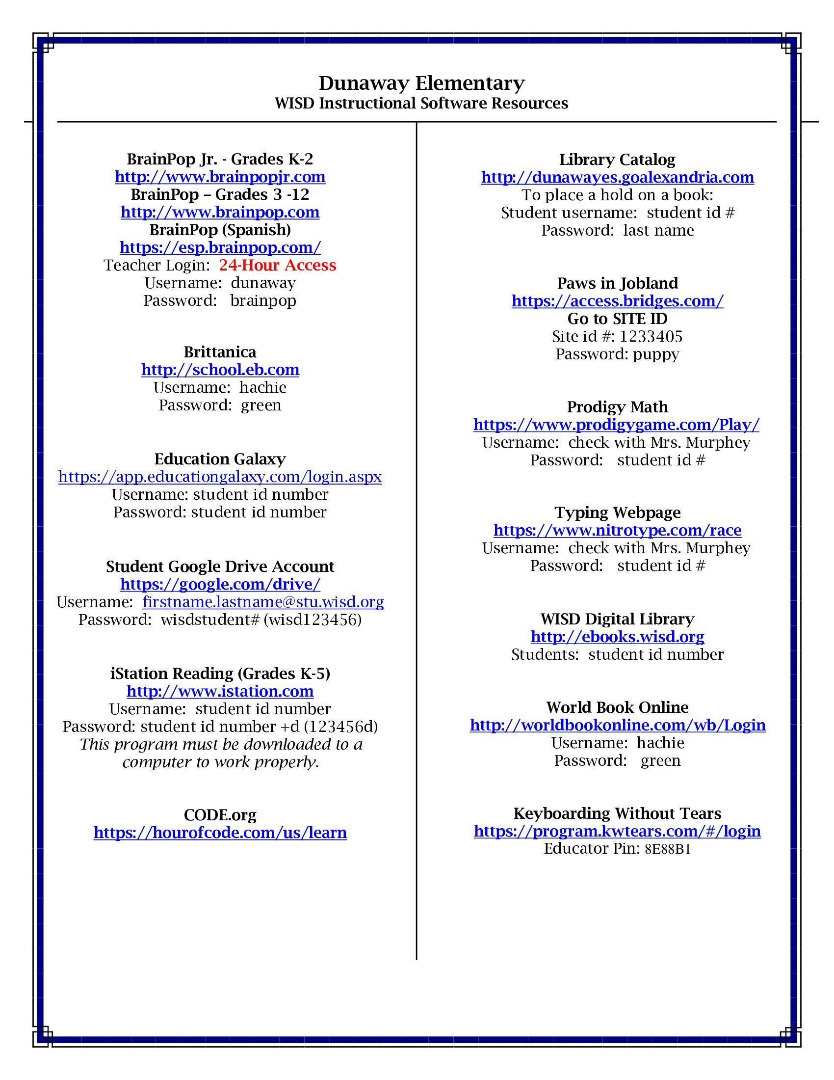 dunaway student resource list