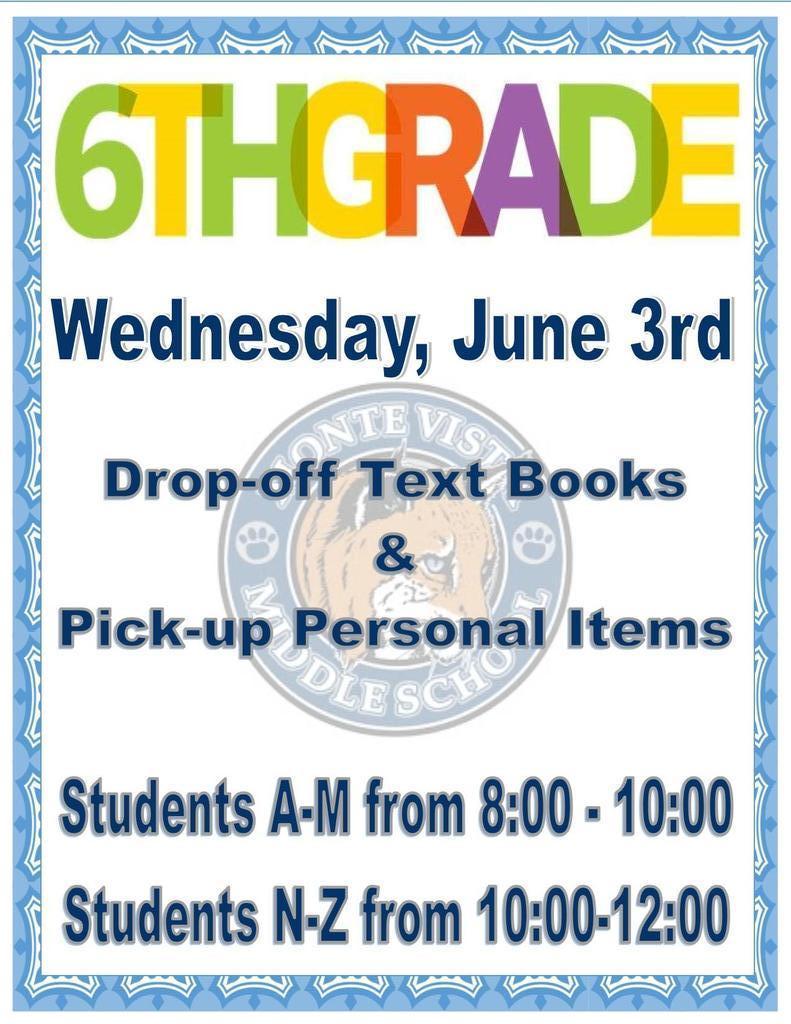 6th grade June 3rd Book drop off
